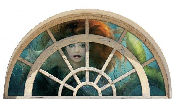 Pencere, Deniz Kızı Duvar Sticker