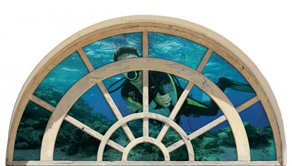 Pencere, Dalgıç, Deniz Duvar Sticker