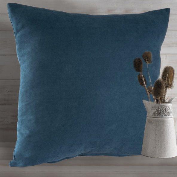 Jakist Dekoratif Süet Petek Kırlent Kılıfı (Okyanus Mavisi) - 43x43 cm (İç Yastık İle Birlikte)