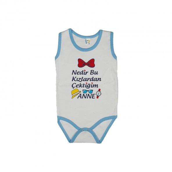 Erkek Bebek Nedir Bu Kızlardan Çektiğim Anne Yazılı Sıfır Kol Zıbın 3-4 Yaş Mavi - C72371-2
