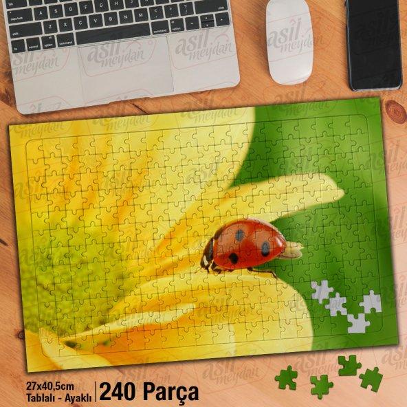 Asil Hobi Uğur Böceği - Doğa - Sarı Çiçek Yapboz-Ayak Destekli Çerçeveli 240 Parça Puzzle