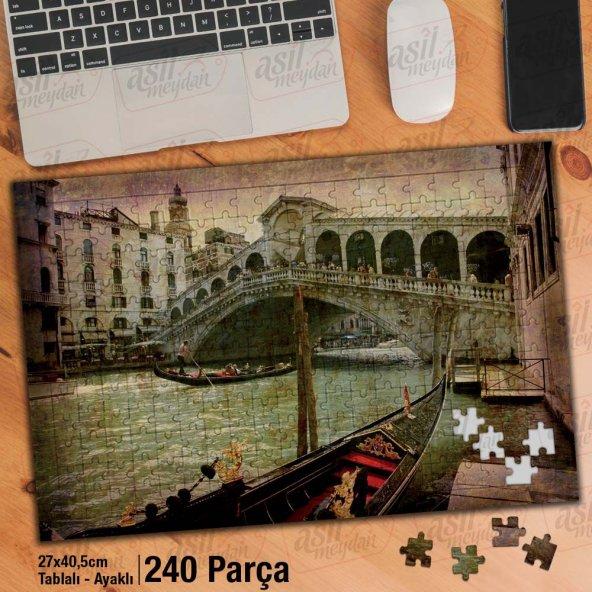 Asil Hobi Venedik - Retro - Gondol - Büyük Kanal Yapboz -Ayak Destekli Çerçeveli 240 Parça Puzzle