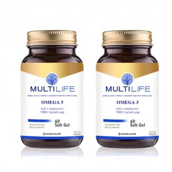 2 ADET Huncalife Multilife Omega 3 Softgel