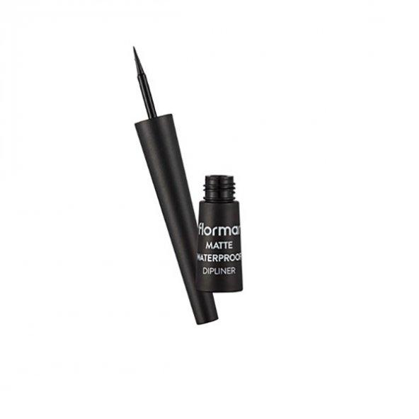 Flormar Matte Waterproof Dipliner - Suya Dayanıklı Mat Eyeliner Black 2.5 ml
