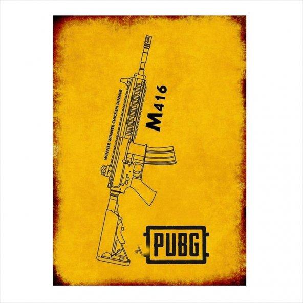 Pubg M416 Gun Baskılı Ahşap Poster
