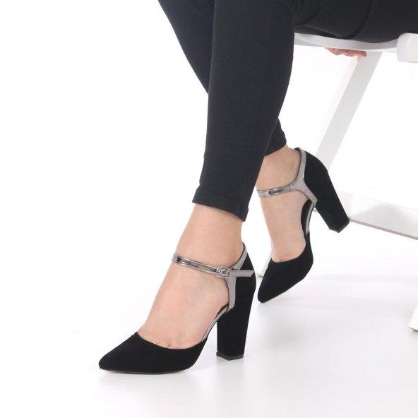 Viviano Topuklu Ayakkabı Süet - Krem, Siyah, 9.5cm, Önü Kapalı