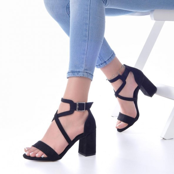 Lucy Topuklu Ayakkabı Süet - 7cm, Kalın Topuklu, Siyah, Krem