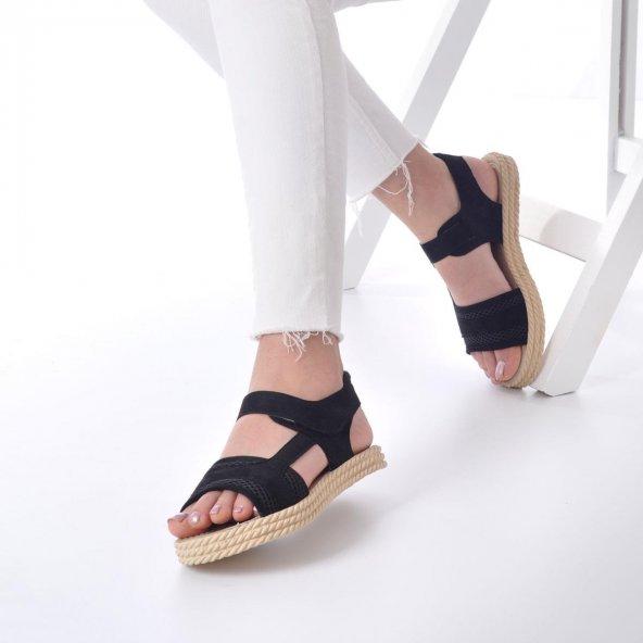 Ness Kadın Sandalet Süet - Cırt Bantlı, Siyah, Pembe