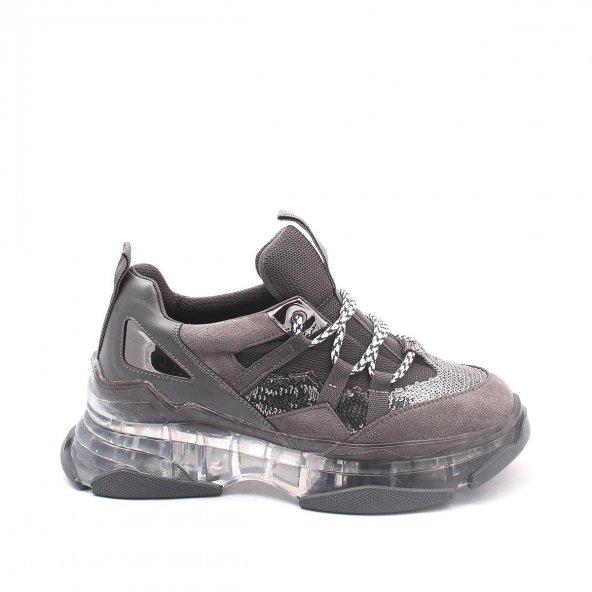 Alfreda Kadın Spor Ayakkabı - Şeffaf Taban, Gri, Siyah
