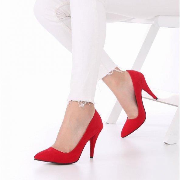 Tilda Stiletto Topuklu Ayakkabı Süet -Siyah, Krem, Kırmızı, 10cm
