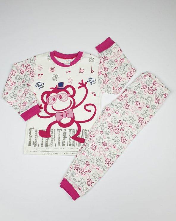 Kız-Erkek Bebek Gözlüklü Maymun Modelli Pijama Takımı 4-6 Yaş Pembe - C66748-11