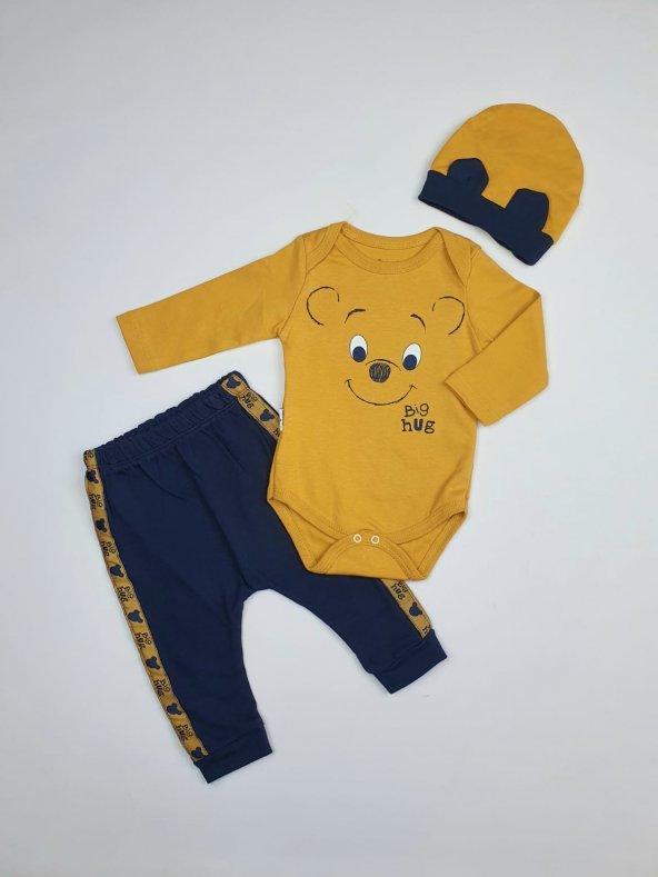 Erkek Bebek Şapkalı Zıbın Takımı 6-9 Ay Hardal - C73569