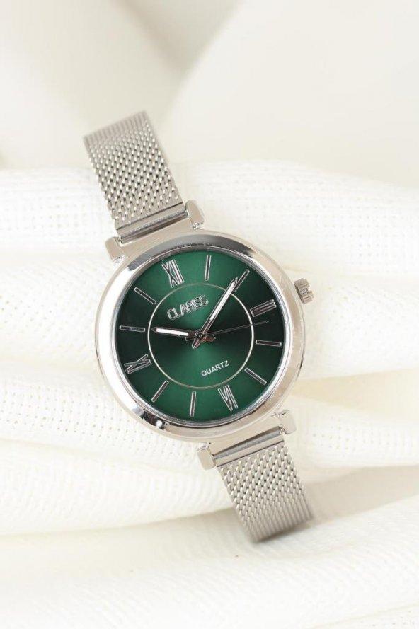 Silver Renk Kaplama Hasır Metal Kordonlu Yuvarlak Metal Yeşil İç