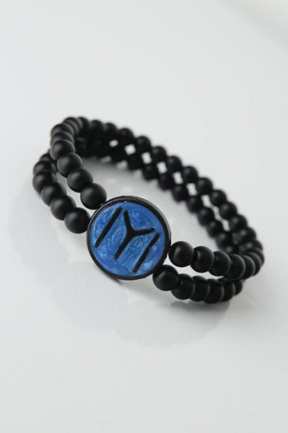 Lacivert Renkli Metal Üzerine Siyah Kayı Boyu Figürlü Siyah Renk