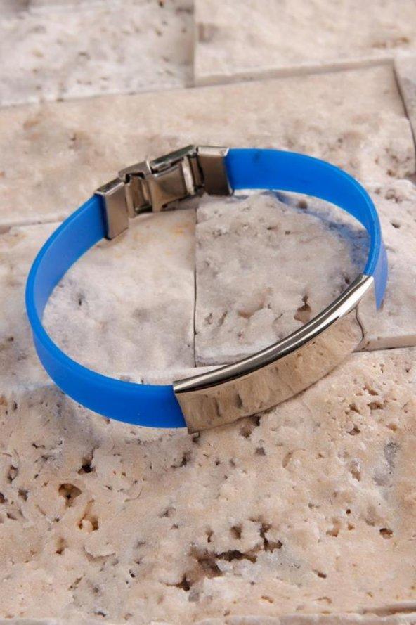 Mavi Silikon Kordonlu Çelik Tasarımlı Erkek Bileklik