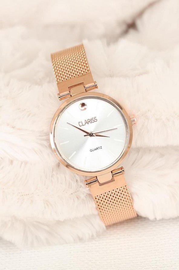 Clariss Marka Rose Hasır Metal Kordonlu Bayan Saat