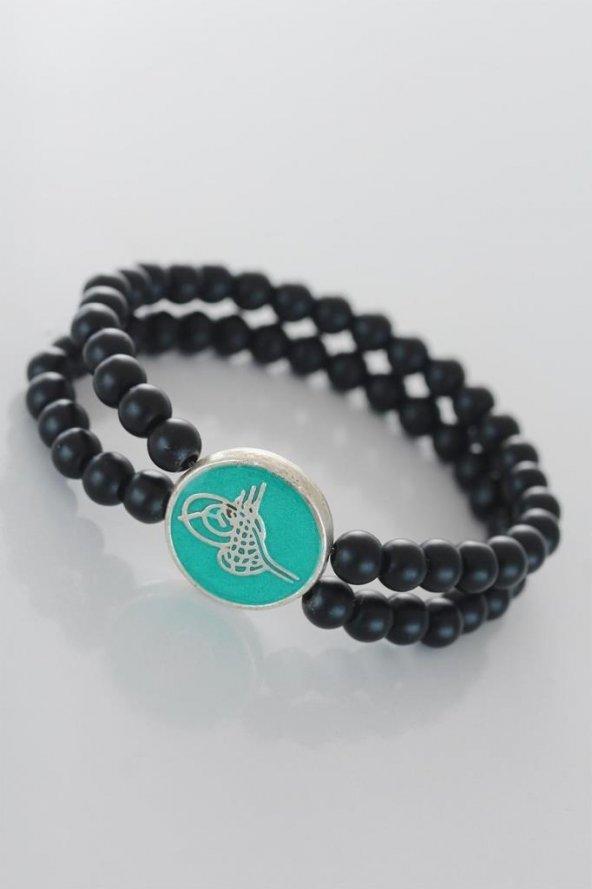 Yeşil Metal Üzerine Silver Osmanlı Tuğra Figürlü Siyah Renk Çift