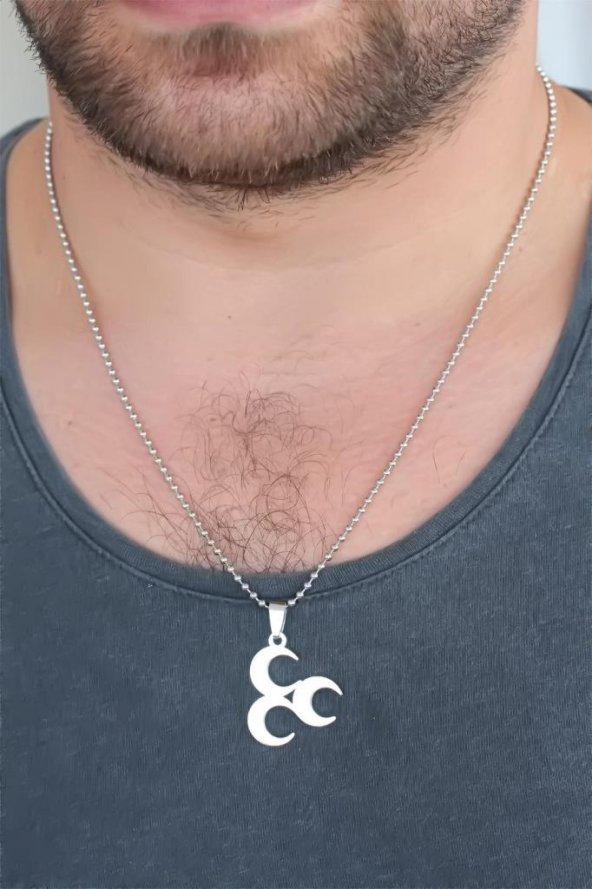 Silver Renk Metal 3 Hilal Figürlü Erkek Kolye