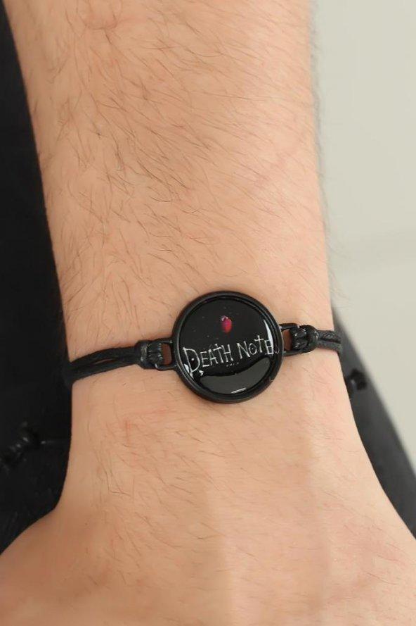 Siyah Renk Deri Ayarlamlı İpli Death Note Erkek Bileklik