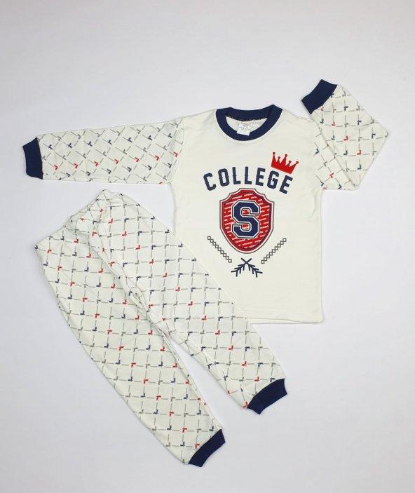 Erkek Bebek College Yazılı Pijama Takımı 4-6 Yaş Lacivert - C66748-5
