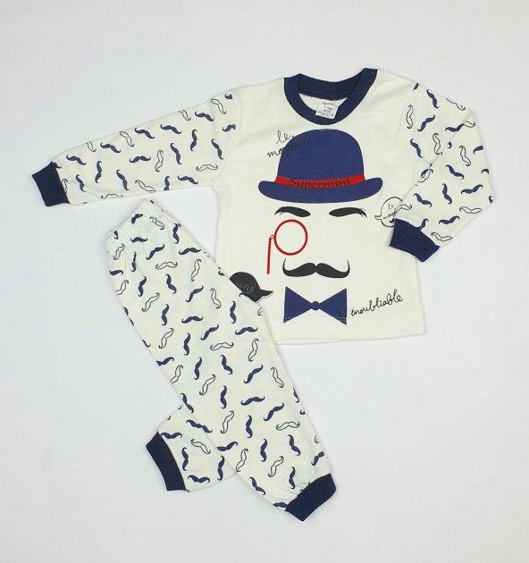 Erkek Bebek Şapka Modelli Pijama Takımı 1-3 Yaş Lacivert - C70840-15