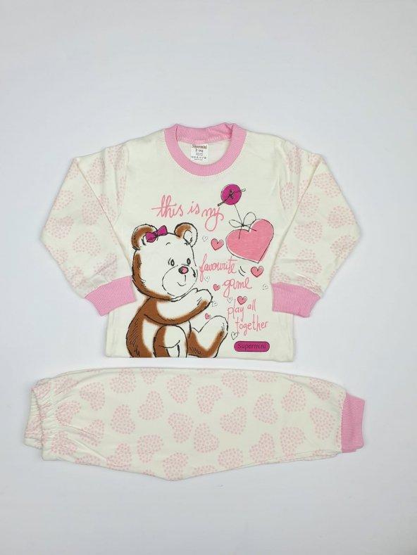 Kız - Erkek Bebek Sevimli Ayıcık Modelli Pijama Takımı 1-3 Yaş Pembe - C70840-16