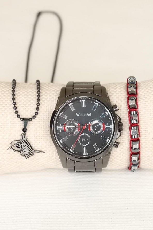 Osmanlı Tuğralı kolye Bileklik Saat Kombin Set Erkek Saat Erkek Kol Saati