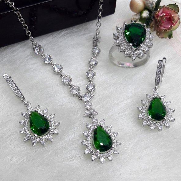 925 ayar gümüş damla model zümrüt yeşil taşlı set
