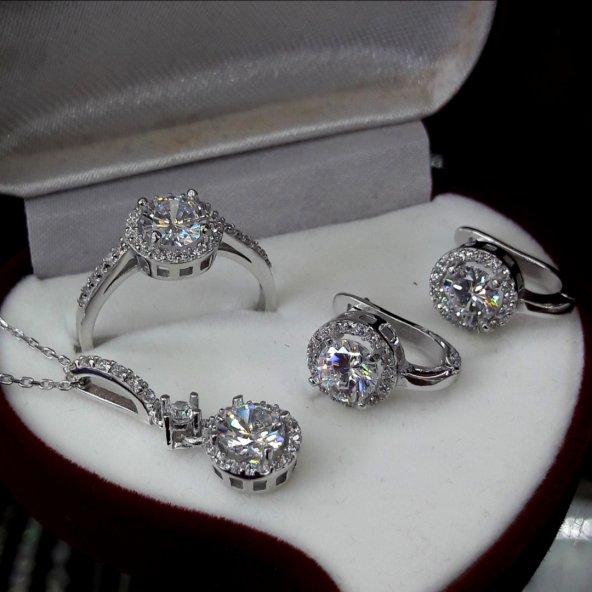 925 ayar gümüş pırlanta model set