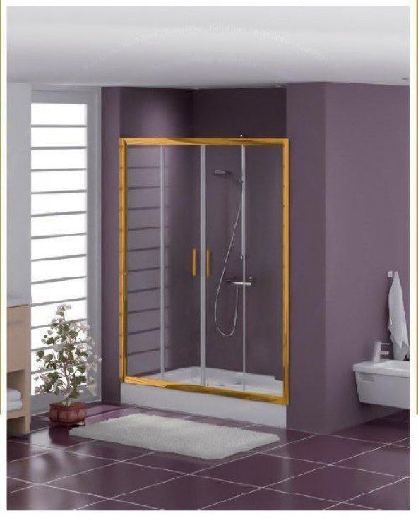 Duşakabincim 185 Cm Altın Sarı Duşakabin Duş Üstü İki Kapılı