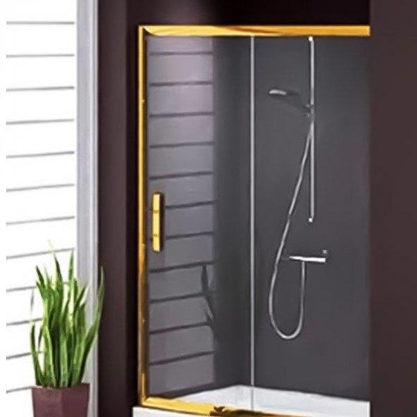 Duşakabincim 135 Cm Altın Sarı Duşakabin Duş Üstü Tek Kapılı Sürgülü