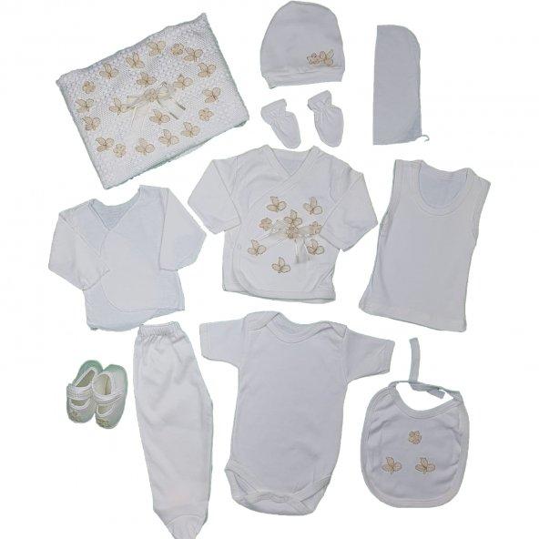 Kız Bebek Yaldızlı Çiçek Süslemeli Hastane Çıkış Seti Beyaz - C71943-1