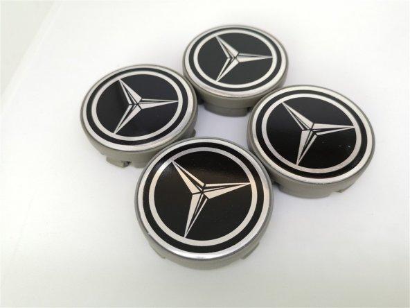 Mercedes Siyah 57mm Çelik Jant Göbek Kapağı