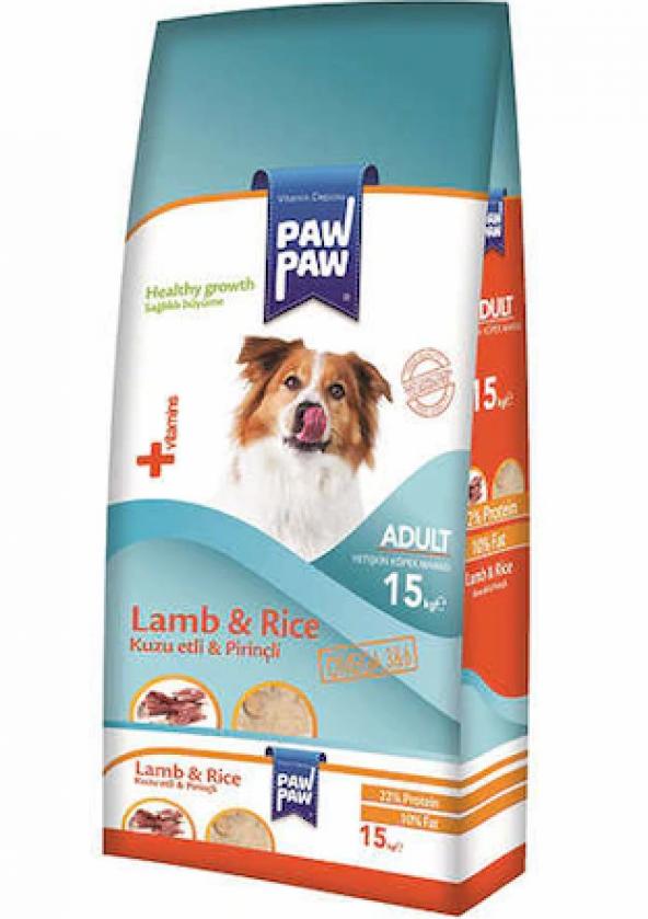 Paw Paw Adult Kuzu Etli Pirinçli Köpek Maması 15 Kg