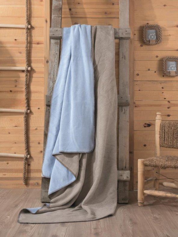 Cotton Box Çift Kişilik Pamuklu Battaniye Vizon - Mavi