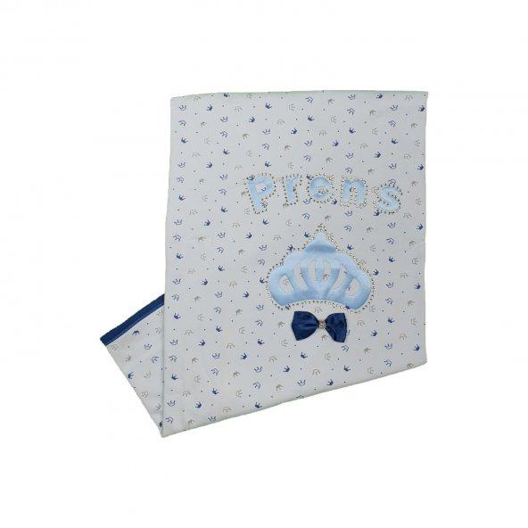 Erkek Bebek Prens Yazılı Taç Modelli Battaniye 0-6 Ay Mavi - C73981-1