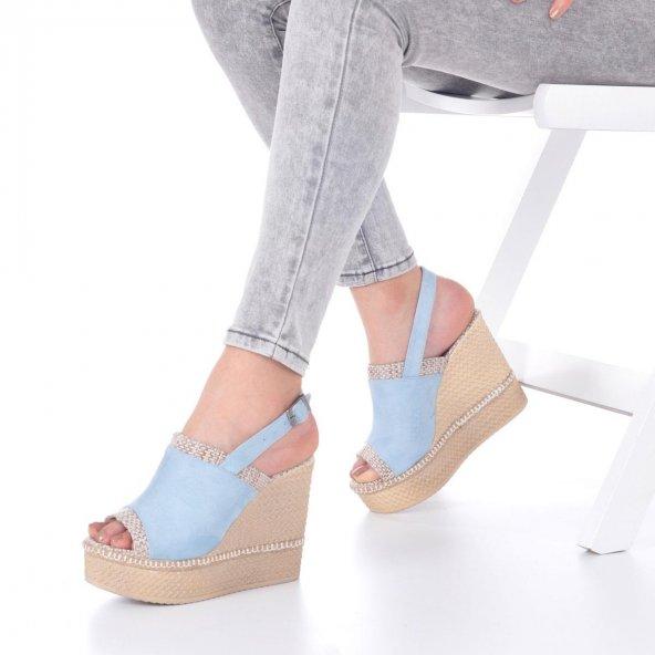 Levenia Dolgu Topuklu Ayakkabı Süet