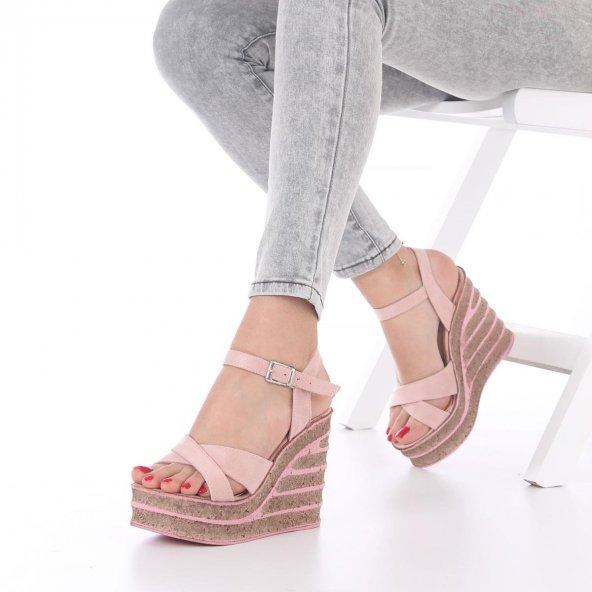 Seti Dolgu Topuklu Ayakkabı Süet