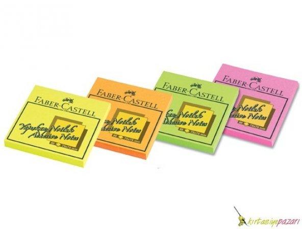 Yapışkan Not Kağıdı 75X75mm Faber-Castell - Fosforlu Renk
