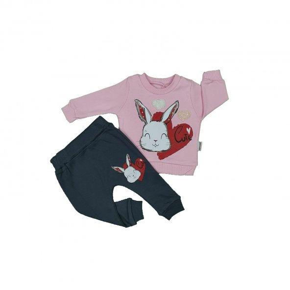 Kız Bebek Sevimli Tavşan Modelli İkili Takım 6-18 Ay Pembe - C74089-5