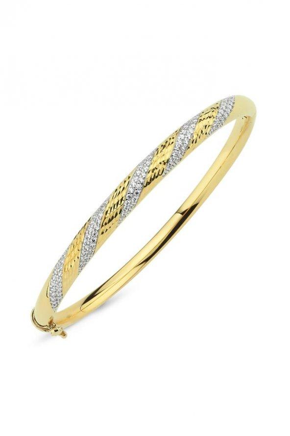 Taşlı Sarı Altın Kelepçe Bilezik (106)