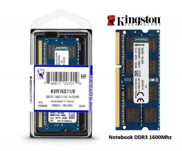 Kingston 8GB 1600MHz DDR3 SODIMM Notebook KVR16S11/8 Bellek