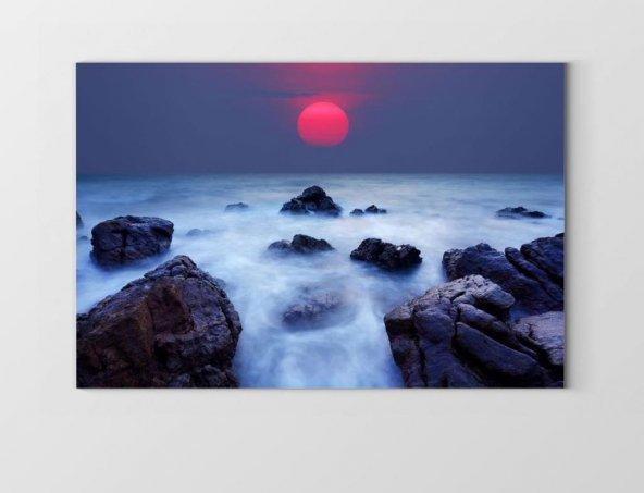 Kızıl Güneş Dalgalı Taş Tablosu