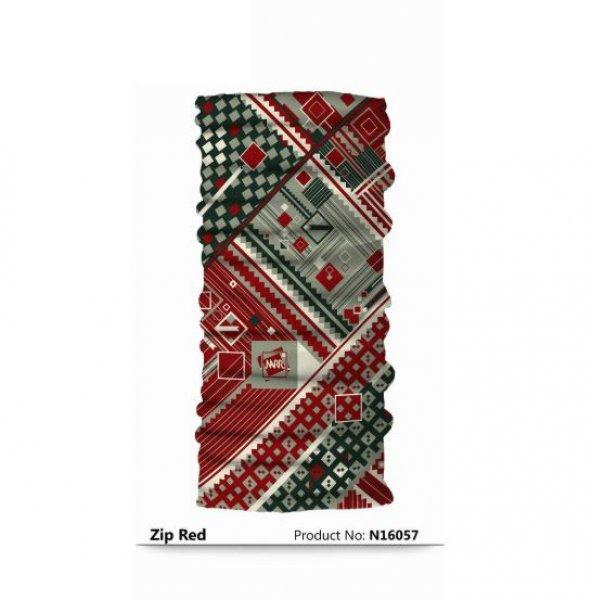 Narr Buff Bandana Zip Red  -Çok Fonksiyonlu