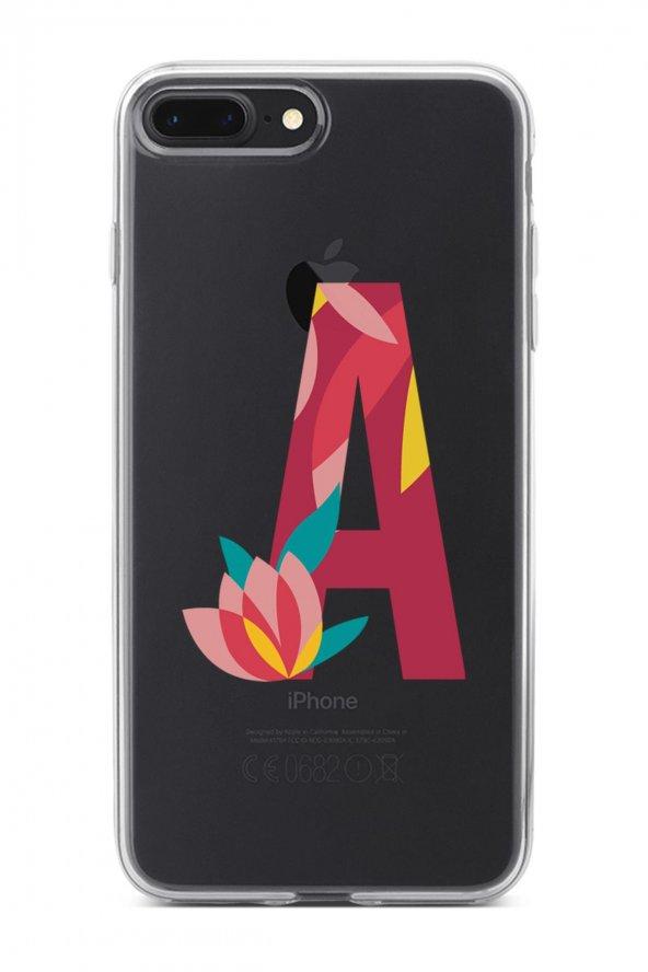 Apple İphone 8 Plus Kılıf Silikon Arka Kapak Koruyucu A Harfi Çiç