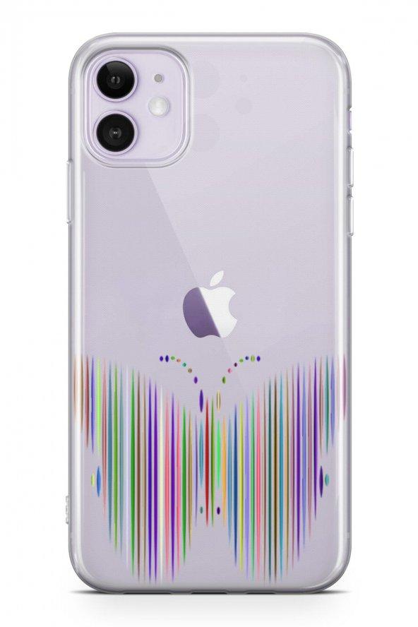 Apple İphone 11 Kılıf Silikon Arka Kapak Koruyucu Çizgisel Kelebe