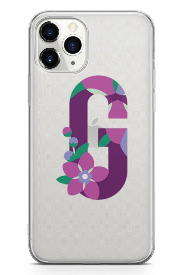 Apple İphone 11 Pro Kılıf Silikon Arka Kapak Koruyucu G Harfi Çiç