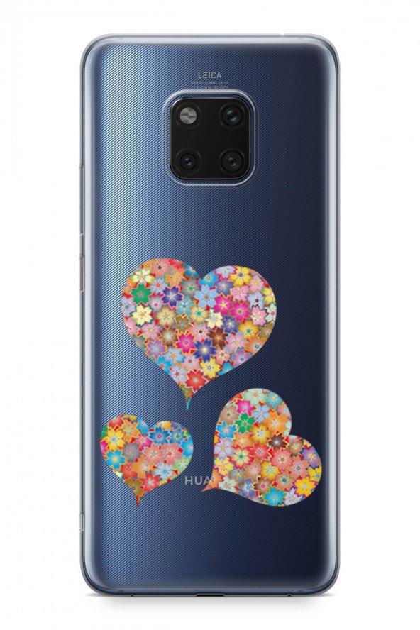 Huawei Mate 20 Pro Kılıf Silikon Arka Kapak Koruyucu Çiçekli Kalp