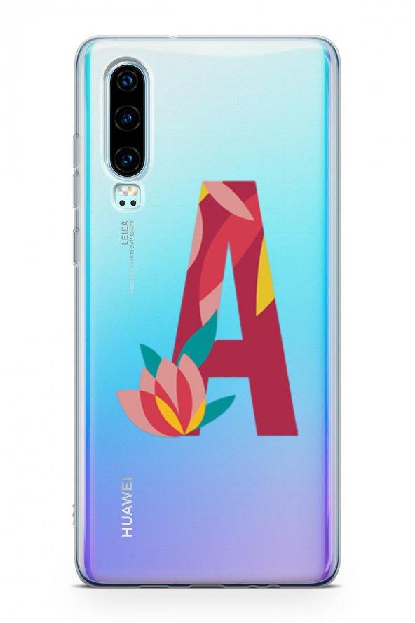 Huawei P30 Kılıf Silikon Arka Kapak Koruyucu A Harfi Çiçekli Dese