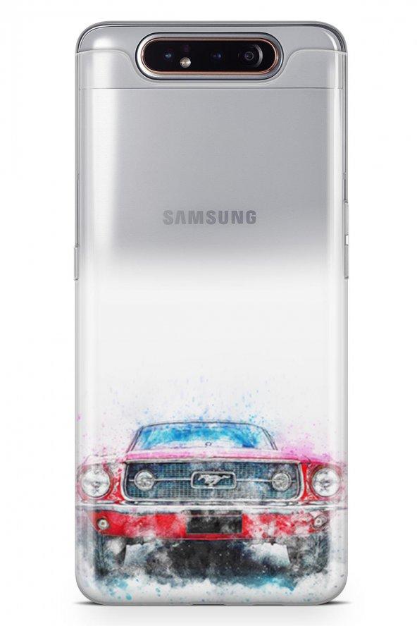 Samsung Galaxy A80 Kılıf Silikon Arka Kapak Koruyucu Mustang Dese